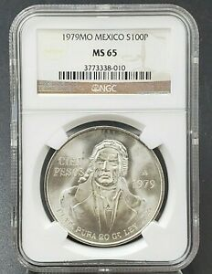 1979 Mexico Silver 100 Pesos S100P NGC MS65 Low Mintage Collector Coin GEM BU