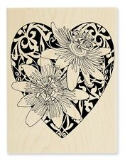 PASSION HEART Rubber Stamp R244 Stampendous! LARGE Brand NEW! love flowers