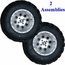 TWO 25x10-12 Lifted Golf Cart Go Kart Mini Truck TIRE RIM Wheel Assemblies 6ply