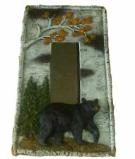 "Comfy Hour 4"" Rustic Nature Birch Black Bear Tissue Paper Holder Cover Tissue Bo"