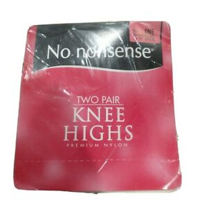 No Nonsense 2-Pair Pack Nylon Knee Highs Reinforced Toe Tan Pantyhose ONE SIZE