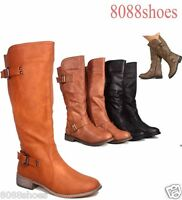 Women's Fashion Zipper Round Toe Mid-Calf Knee High Boot Shoes Size 5.5 - 11 New