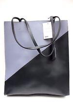 Asos Black Block Premium Leather Large Hard Tote Shopper Hand Shoulder Bag New