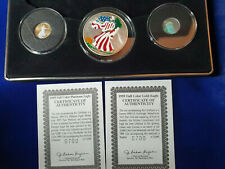 🌟1999 COLORIZED U.S. EAGLE LIBERTY SET GOLD PLATINUM SILVER WASHINGTON MINT COA