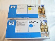 GENUINE LOT OF 2 NEW HP LASERJET 3700 TONER SET Q2682A Q2681A Yellow & Cyan