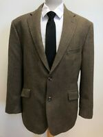 G357 MENS M&S 8326 386 BROWN HERRINGBONE COLLARED WOOL BLAZER JACKET UK L EU 52