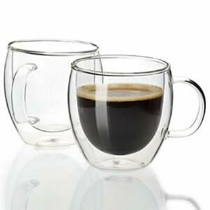 Espresso Cups Shot Glass Coffee 5 oz Set of 2 - Double Wall Insulated Glass Mugs