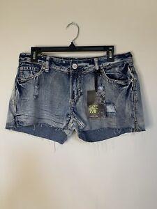 Rue 21 Cut Off Jean Shorts Juniors 7/8 Blue Denim Low Rise Stone Washed New