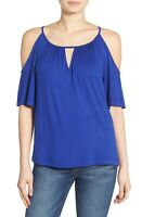 Ella Moss Bella Cold Shoulder Top Size M Short Sleeve Strappy Cutout Blue EUC A4
