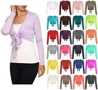 New Womens Ladies Long Sleeve Tie Front Bolero Cropped Shrug Top Cardigan 8-14