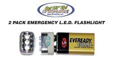 9 Volt LED Emergency Flashlight PACK OF 2 Camping Backpacking Survival L.E.D.