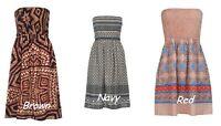 Bandeau Floral Mini Cover up Bikini Swim Suit Beach Summer Sarong Cotton Dress
