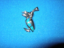 NEW STERLING SILVER & OPAL  NAUTICAL PELICAN W/FISH PENDANT MARINE SEALIFE FISH