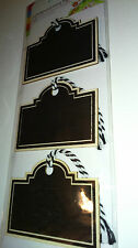 3 PLYWOOD BLACK CHALKBOARD TAGS LABELS with bakers twine PAINTED LIGHTWEIGHT