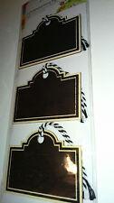 3 etiquetas de madera contrachapada negro pizarra Etiquetas con Bakers Twine Pintado ligero