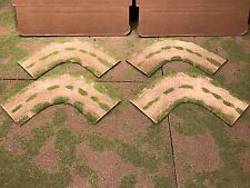 """28mm, 3"""" (rural) 1/4 turn road sections,  4pc,  PAINTED"""