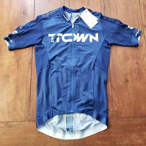 Maloja Pro Cycling Jersey Mens XS Blue Pushbikers Race Fit Full Zip Lightweight