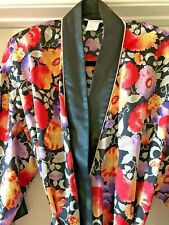 Natori Robe Long Black Mixed Color Floral Silky Classic Print
