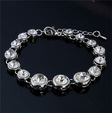 Unique Silver Plated Clear Crystal Rhinestone Bangle Bracelet Chain Wristband