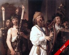 KING DAVID OF ISRAEL PLAYING HARP PSALM MUSIC PAINTING BIBLE ART CANVAS PRINT