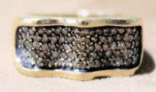 14K YELLOW GOLD CHOCOLATE DIAMOND RING-Full Cut Stones .66ct, Wave Style, Size 7