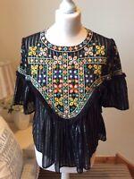 ZARA Black Multicoloured Embroidered Cross Stitch Top Size UK Small Boho Folk