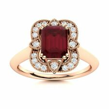 Certified Vintage Style Natural Ruby Engagement Ring w/ Diamond 14k Rose Gold
