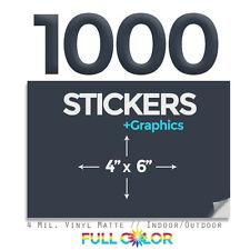 "1000 Custom Quality Vinyl STICKERS + FREE Graphics & Shipping (4"" x 6"")"