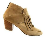 Aquatalia Women Booties Tan Brown Leather Suede Zip Up Ankle Tassel Boots Size 8