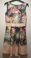 Misslook Black / Multicoloured Floral A-Line Dress - Size 12 (229)