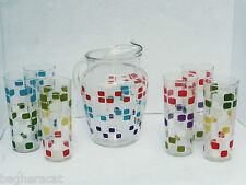 Anchor Hocking COLOR BLOCKS Glass Pitcher & 6 Glasses