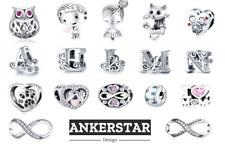 Charms Anhänger kompatibel Pandora Herz Eule Haus Familie Pfote in 925 Silber