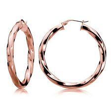 Rose Gold Tone over Sterling Silver 3.5mm Twist Design Round Hoop Earrings, 35mm