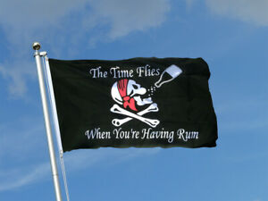 PIRATE Quality Fabric Flag 5Ft X 3Ft Time flies Pirate  Durable Outdoor Flag