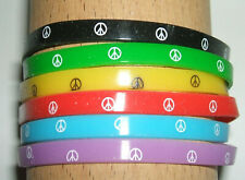 JOB LOT (G) - 5mm WRISTBANDS, MIXED COLOURS, PEACE (pack of 6)