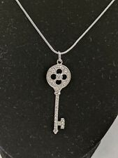 Cubic Zirconia Key Pendant Necklace Sterling Silver