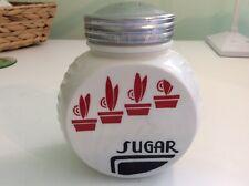 """Vintage Retro Hocking Vitrock Sugar Shaker 4 1/4"""" Tall Red Flower Pot Design"""