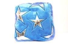 Fodera per cuscino con cerniera Gioseppo in peluche turchese con stelle argento