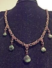 EMERALD CHAIN MAIL MAILLE UNISEX NECKLACE BYZANTINE CHRISTMAS BRONZE PLATED 2IN2