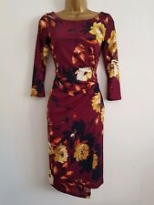 NEW Ex Wallis 8-18 Plum Red Wrap Skirt Pink Floral Print Shift Midi Dress