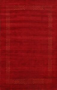 Bordered Gabbeh Oriental Area Rug Wool Hand-knotted Contemporary Carpet 6x8 New