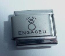 ENGAGED & ENGAGEMENT RING Italian Charm Proposal Wedding I Love you 9mm N134