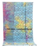 Indien Set Coton Ikat Imprimé Couvre-Lit Teinture Reine Couverture Handmade