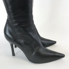 Gina UK3 Black Leather Knee High Zip Sexy Stiletto Heels Pointed Booties Boots