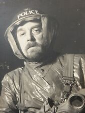More details for portrait early ww2 policeman wears  protective anti-gas oil skins mask etc name