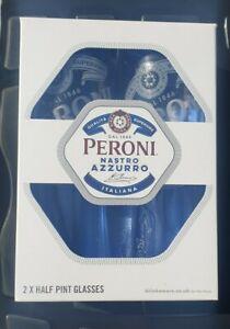 Peroni Nastro Azzurro Half Pint Glasses x 2 in Gift Box New Design Boxed
