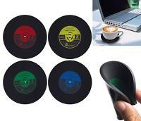 Retro CD Record Coffee Cup Mat Coasters Non-Slip Silicone Tableware Pack Of 4