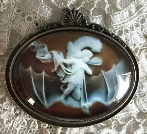FAIRY FLYING ON BAT Glass Dome BROOCH Pin Vintage Victorian Cameo Jewelry Image