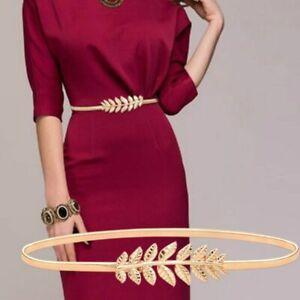 Womens Waist Chain Belts Elastic Flower Leaves Metal Buckle Gold Thin Ceinture