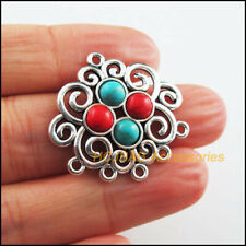 4 New Flower Charms Tibetan Silver Tone Colored Turquoise Connectors 28x30mm